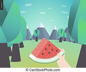 watermelone, skovtur, ind, en, skov