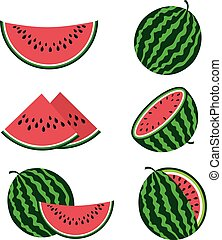 Watermelons and watermelon slices flat cartoon vector set....