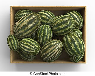 Watermelons in wooden box - top view