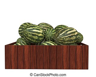 Watermelons in wooden case