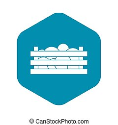 Watermelons in wooden crate icon, simple style