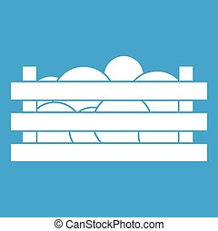 Watermelons in wooden crate icon white
