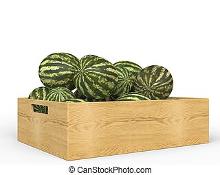 Watermelons in wooden crate