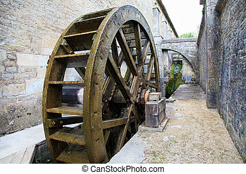 Historic watermill in the Abbey of Fontenay, Burgundy, France.
