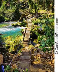 watermill of achileas in kalamas river,summer season, ioannina perfecture greece