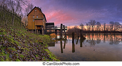 watermill with reflection in the countryside - sunset Slovakia - Jelka Panoramic view