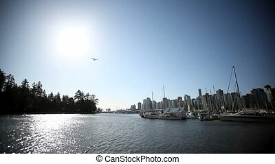Waterplane flyover marina - Waterplane flying through the...
