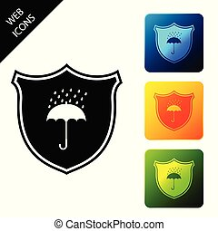 Waterproof icon isolated. Shield and umbrella. Protection, ...