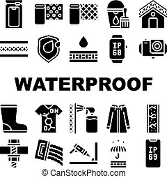 Waterproof Material Collection Icons Set Vector Illustrations