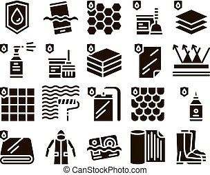 Waterproof Materials Glyph Icons Set Vector