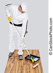 waterproofing, chão, madeira, trabalhador, pintura, primer