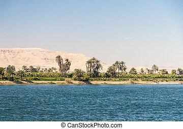 waterscape, op, nijl, dichtbij, luxor, in, egypte