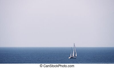 Waterscape with sea, sky and sailing yacht - White yacht...