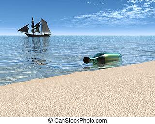 waterside., boodschap, het liggen, fles