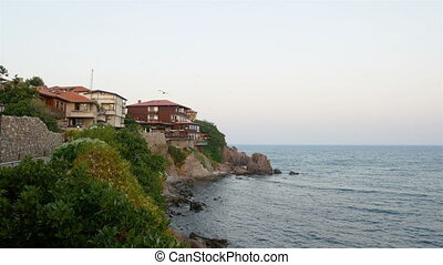 Black sea coast of Bulgaria. - Waterside houses, hotels and...