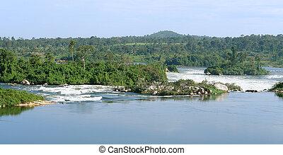 waterside, rio, nile, paisagem, perto, jinja, em, uganda