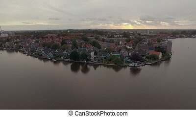 Waterside township in Netherlands, aerial view - Aerial view...