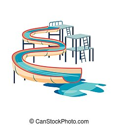 Waterslide in pool icon, cartoon style
