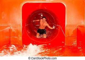 waterslide, natação, público, piscina, homem