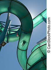 Waterslide Silhouette - A Person sliding down a waterslide...