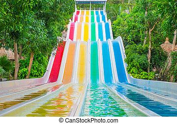 waterslides, parque água, coloridos