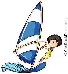 watersport, jeune garçon, activité, apprécier