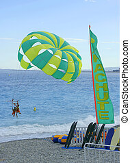 watersports at a beach in Nice, France