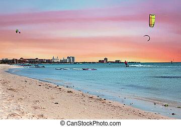 Watersports at Palm Beach on Aruba island in the Caribbean Sea