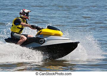Man Riding Jet Ski Wet Bike Personal Watercraft