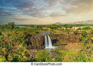 waterval, ethiopië, blauwe nijl