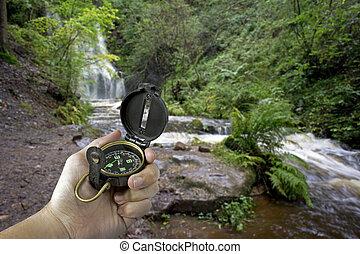 waterval, man, kompas
