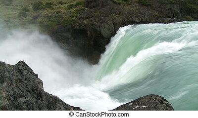 waterval, met, geluid