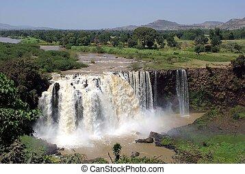 watervallen, in, ethiopië