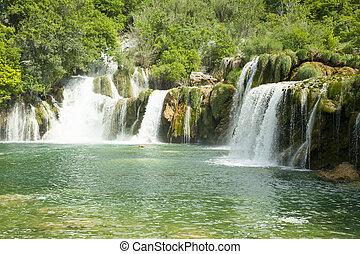 watervallen, in, nationale, park.