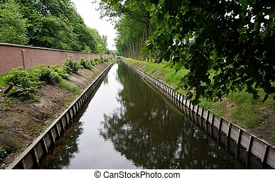 Waterway - A river or waterway between the fields,