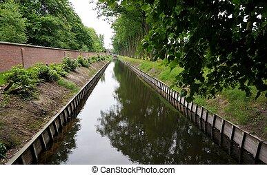 Waterway - A river or waterway between the fields,