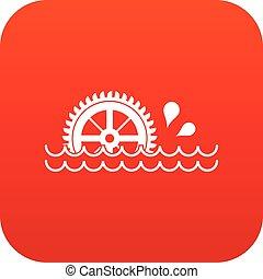 waterwheel, アイコン, 赤, デジタル