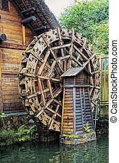 Waterwheel at the Nan Lian Garden, Hong Kong - Ancient...