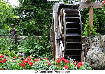 waterwheel, em, um, jardim flor