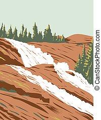 Waterwheel Falls on Tuolumne River in Sierra Nevada Within Yosemite National Park California USA WPA Poster Art