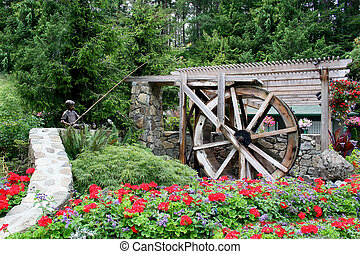 waterwheel, jardin fleur