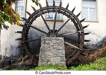 Waterwheel near Rhine Falls, Switzerland
