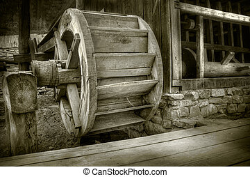 Waterwheel - Antique waterwheel in a romanian village