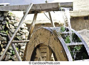 waterwheel - Traditional waterwheel working in a cultural...
