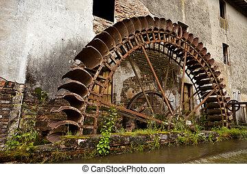 Waterwheel - Old restaured watermill. Italy. Prada. Mulino...