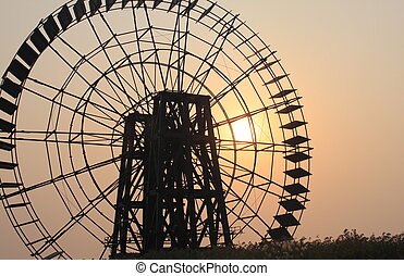 Waterwheel sunset
