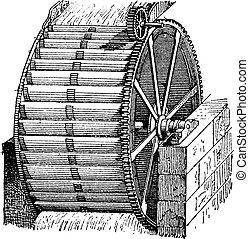 waterwheel, vödör, szüret, engraving.