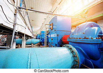 Waterworks - Workshop internal water plant, a large metal...