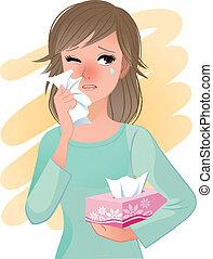 Watery eyed woman hodling facial tissue box.