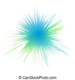 Editable vector illustration of a blue-green ink splash made by masking a background color mesh